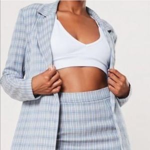 Blue Co Ord Plaid Tailored Jacket and skirt set